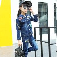 2017 High Quality Girls Luxury Sequin Denim Jacket Pants Clothing Set Kids Clothes Sets Jeans Coat