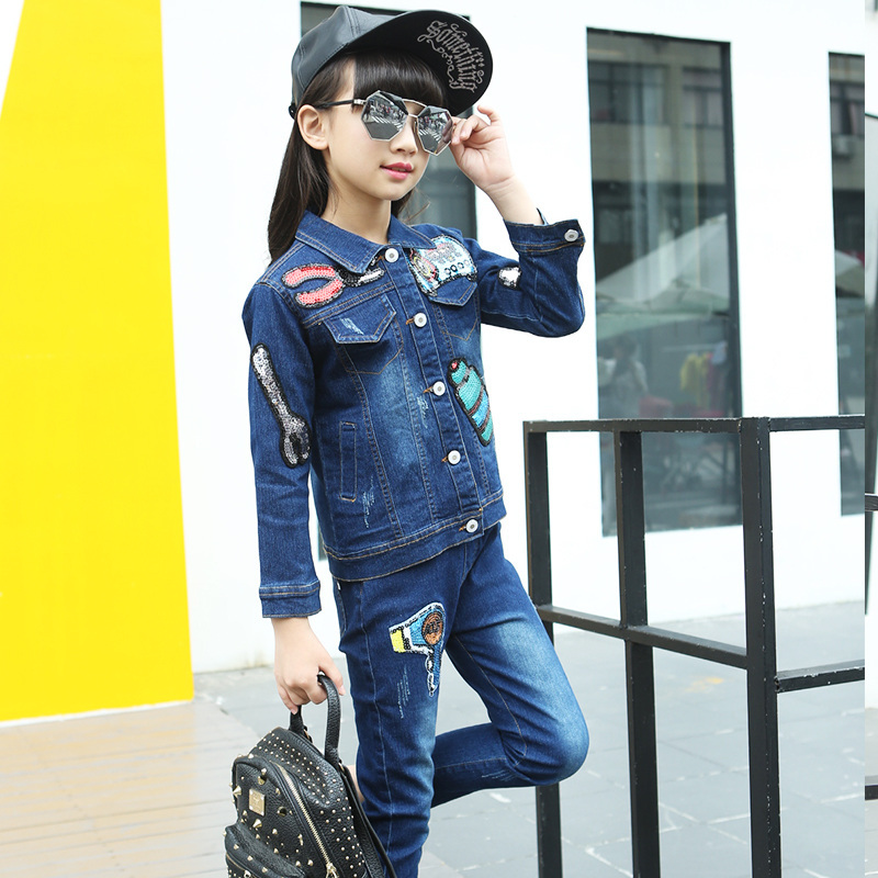 2017 High Quality Girls Luxury Sequin Denim Jacket Pants Clothing Set Kids Clothes Sets Jeans Coat Trousers Two Piece Set 2016 spring new girls sets long sleeved denim jacket with striped lace dress two piece nice quality children clothing set a396