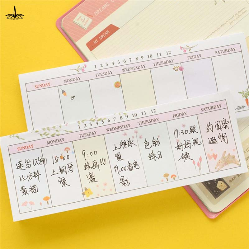 40 Sheets/Set Self-Adhesive Week Notes Notebook Memo Pad Sticky Notes Post Bookmark School Supplies Tools