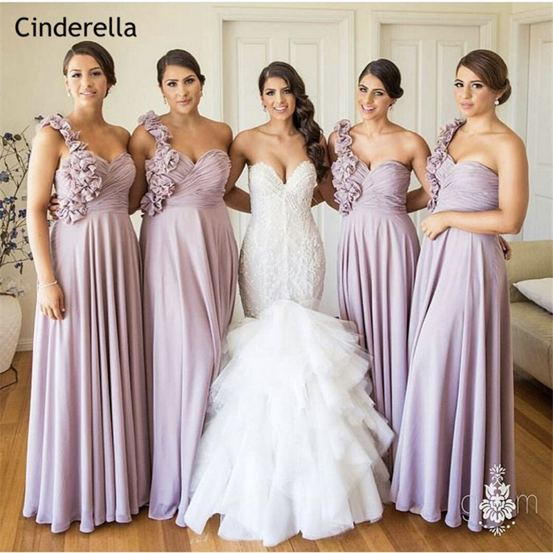 Us 87 2 20 Off Cinderella Lavender Hand Made Flower One Shoulder A Line Chiffon Bridesmaid Dresses Long Wedding Party In