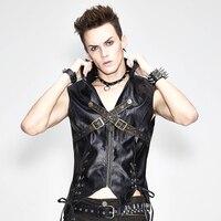 Punk Men's Black Waist Coat Metal Buckle Zipper Closure Ropes Vest Fashion Male's Tops Wearing