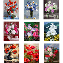 DIY oil painting paint by number canvas picture home wall decor red flowers drawing coloring paint craft painting by numbers 0329zc066 home wall furniture decorations diy number oil painting children graffiti sandy beach coconut tree painting by numbers