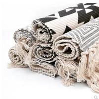 Handmade woven cotton geometric mat rug living room cloth bedside tatami mat dustproof absorbent foot pad
