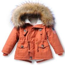 2016 Children Clothing Fleece Boy Outwear Detachable Fur Collar Boy WInter Coat Cotton-Padded Boy Girls Winter Jackets and Coat