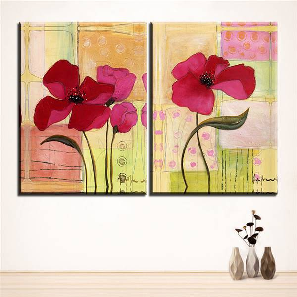 Large Size 2pcs Print Oil Painting Wall Flower Painting Decorative ...