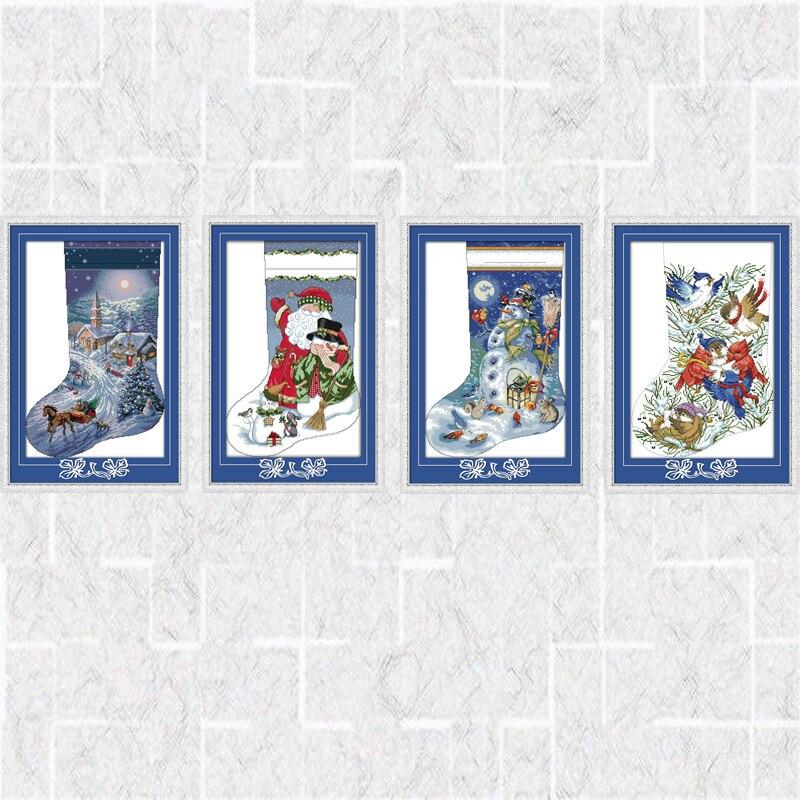 Calcetines de Navidad contados DIY DMC 14CT patrón de 11CT impreso ...