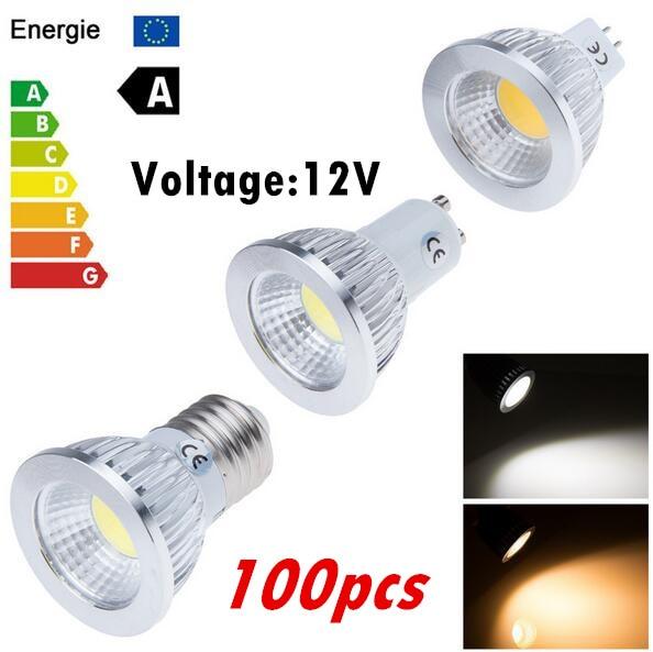 100PCS cob E27 E14 GU10 GU5.3 MR16 Led Light Bulb 6W 9W 12W LED Lamp 12V Cool Warm White Led Spotlight Lamps free shipping