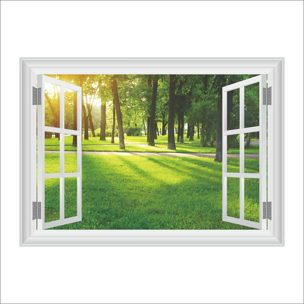 b8fe293f4 3D False Window Decor Sunshine Forest Wall Sticker Drawing Room Bedroom  Home Decor DIY Scenery Poster Mural Wallpaper Wall Decal