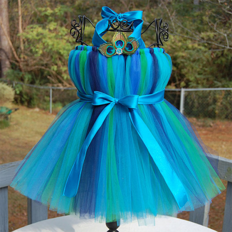 ФОТО Baby Girls Tutu Dress Peacock Feather Handwork Knee-Length Kids Girls Ball Gown Tutu Dresses For Photo props Birthday Party