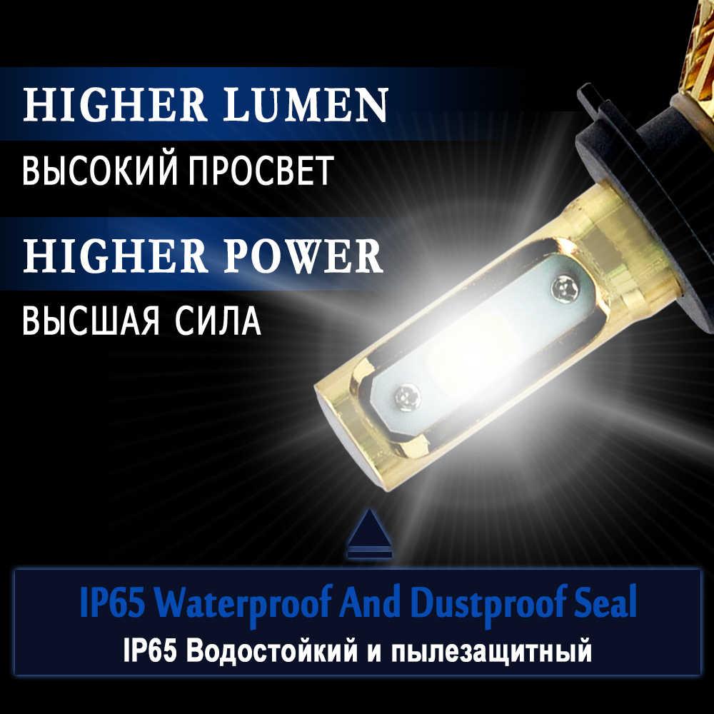 Une Paire H3 LED H7 H1 H4 H11 H8 H9 H13 9005 9006 9007 881 Voiture phare LED Kit 72W 8000LM Auto Phare Antibrouillard Ampoules 6500k