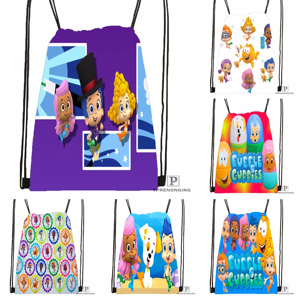 Custom Bubble Guppies Drawstring Backpack Bag Cute Daypack Kids Satchel (Black Back) 31x40cm#180531-03-23