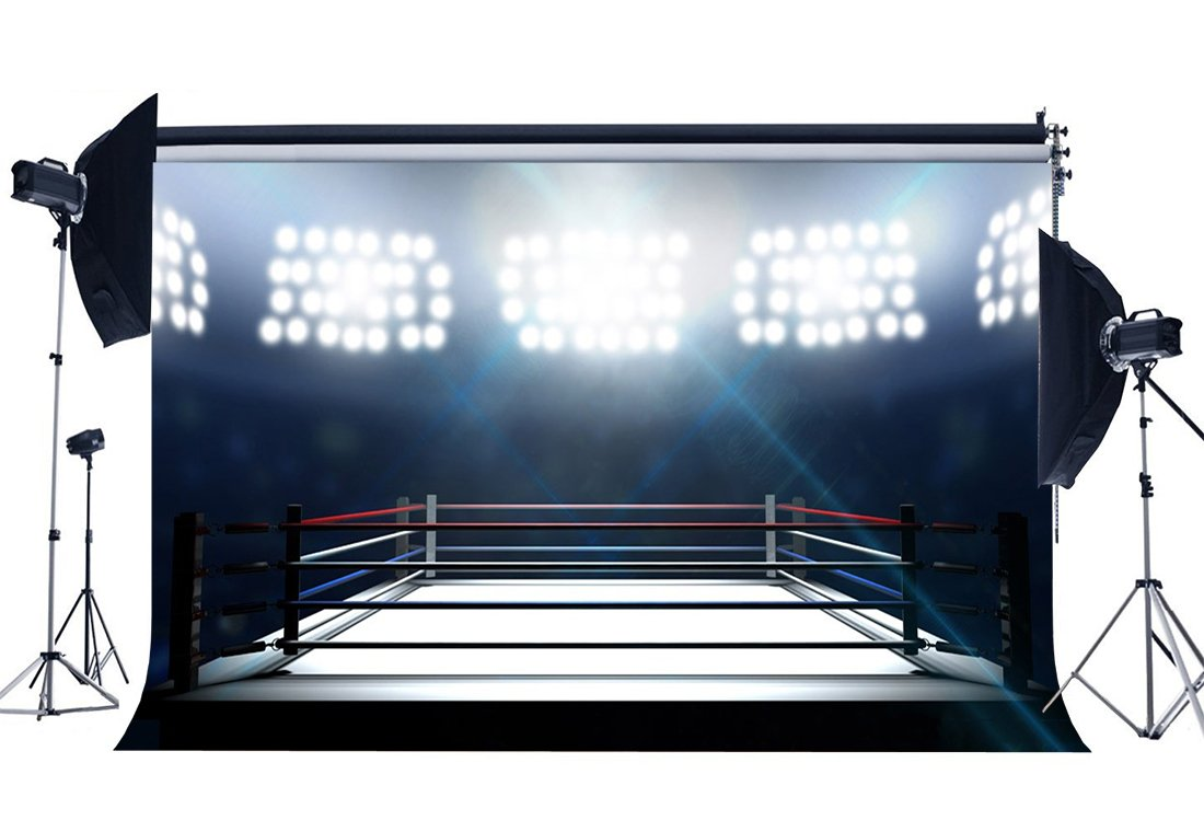 Boxing Ring Backdrop Indoor Gymnasium Backdrops Bokeh Stage Lights Pugilism Challenge Sports Match Background-in Photo Studio Accessories from Consumer Electronics