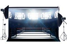 Fondo de anillo de boxeo telón de fondo de gimnasio interior Bokeh escenario luces pugilismo desafío deportes partido fondo