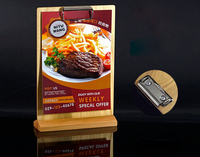 A4 Restaurant Retro Wooden Price Tag Display Stand Tabel Sign Menu List Snap Holder Display Rack