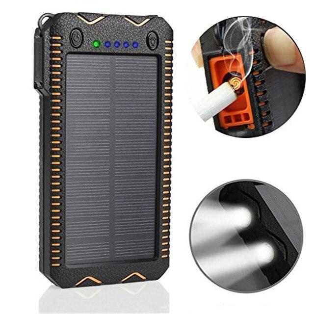 Портативный солнечный Power Bank 10000 мАч для Xiaomi Внешняя батарея Powerbank прикуривателя dual usb с фонариком зарядное устройство