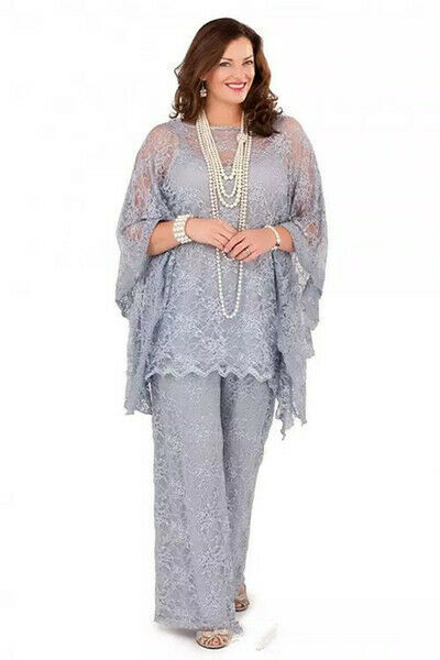 A three-piece lace dress with loose sleeves for PROM, adult wedding dress, everyday