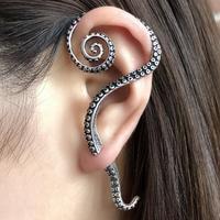Antique 100% Real 925 Sterling Silver Clip Earrings Punk Rock Big Octopus Foot Earrings Personality Womens Jewelry Left Ear Wear