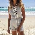 Nova Chegada das Mulheres Macacão Sem Mangas Lace Up V-neck Playsuit Casuais Calções Calções de Praia
