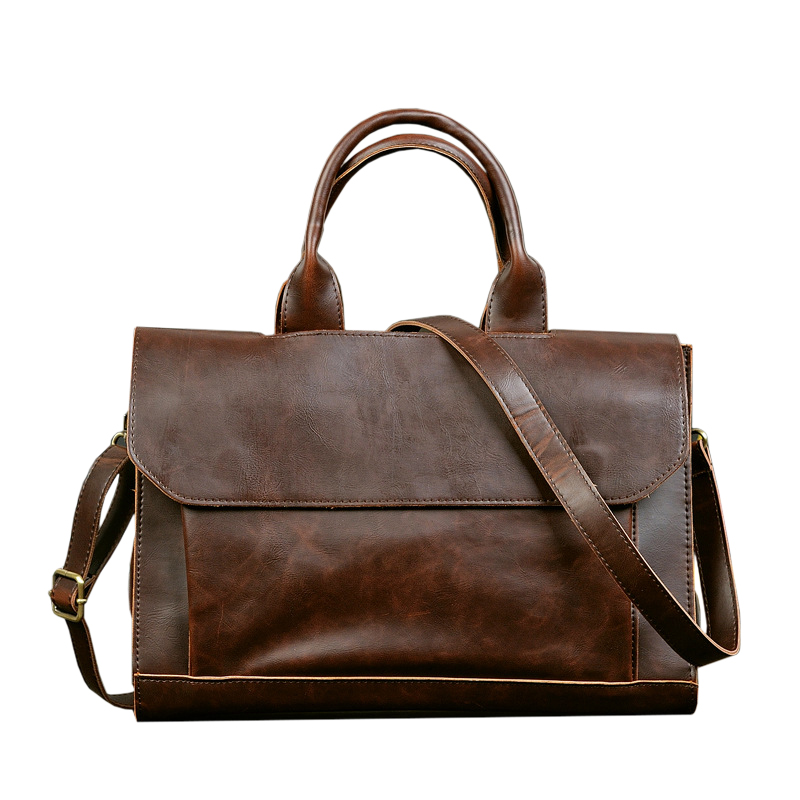 Hot- Vintage Briefcases Men Messenger Bags Brown Luxury Business Briefcase Document Lawyer Laptop Bag