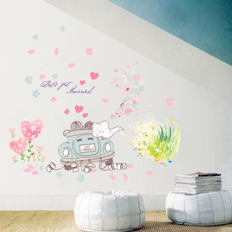 Us 4 21 12 Off Let S Get Married Couple Cartoon Wall Stickers Wedding Car Flowers Lover Bedroom Living Room Decoration Diy Self Adhesive Decal In