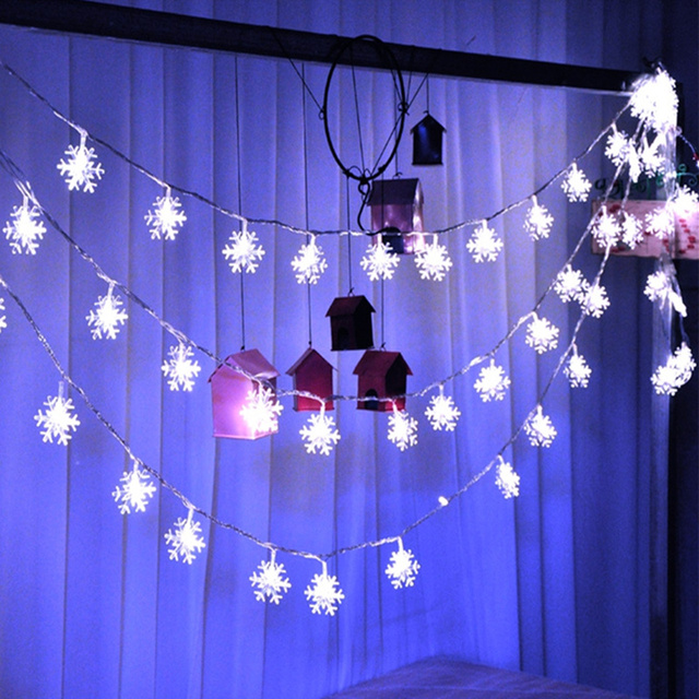 10m 100led snowflake shape christmas lights curtain string light garden decoration for wedding birthday party supplies