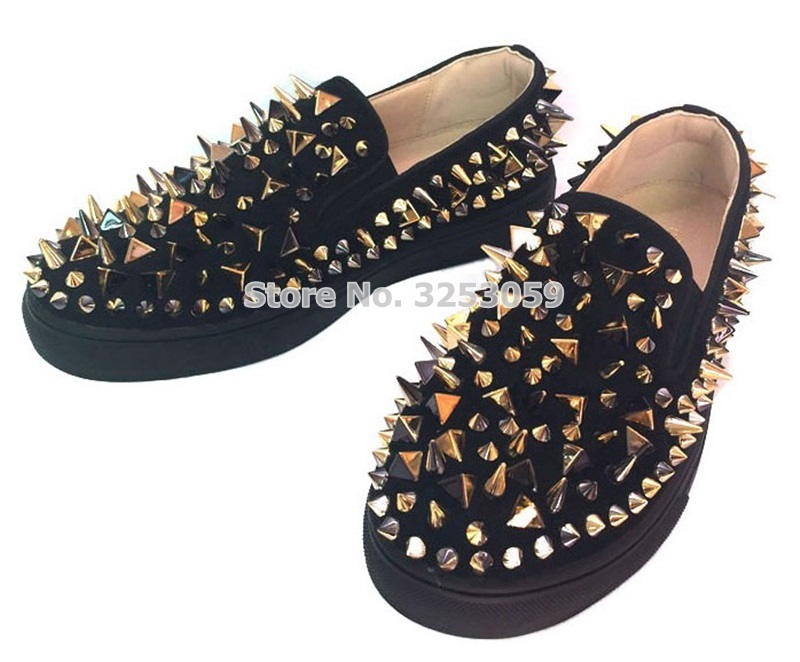 ALMUDENA High End Unisex Rivets Sneakers Punk Stylish Spikes Slip on Loafers Black Red White Studded Dress Shoes Size 35 45