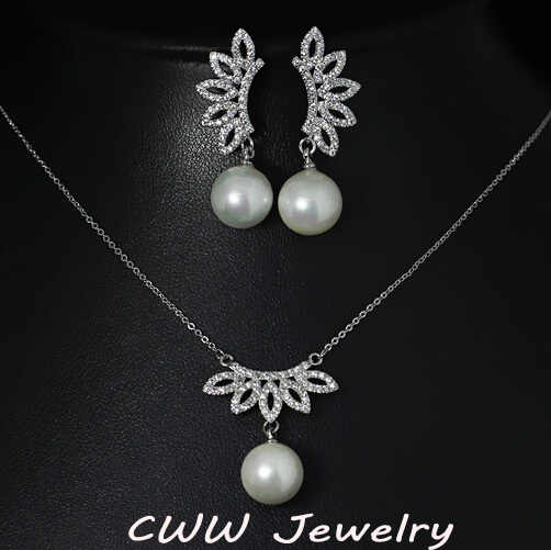CWWZircons 2017 New Design Micro Pave Flower Cubic Zircon Pendant Necklace And Earrings Women Jewelry Sets With Pearls T083