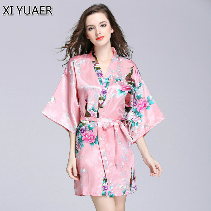 XI YUAER Floral Bathrobe Silk Wedding Bride Bridesmaid Robe Short Kimono Robe Night Robe Bath Robe Fashion Dressing Gown Women