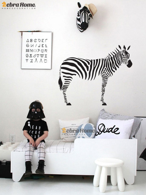 DIY Zebra Wall Decal Sticker For Living Room Art Vinily Murals Wallpaper  For Children Baby Nursery Bedroom Home Decor 80X100CM