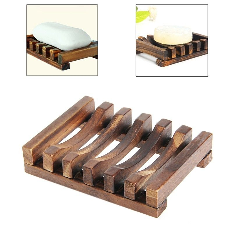 Drop shipping Soap Holder Dish Bathroom Shower Storage Support Plate Stand Wood Box Natural. Wooden Bathroom Storage Box