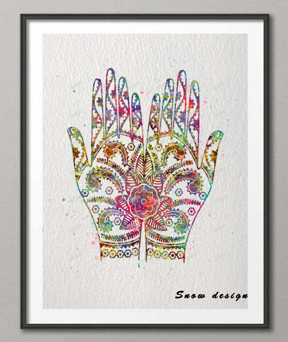 Original watercolor Yoga Mandala Buddha Hands wall art canvas painting poster print Pictures Living room Decoration wall decor