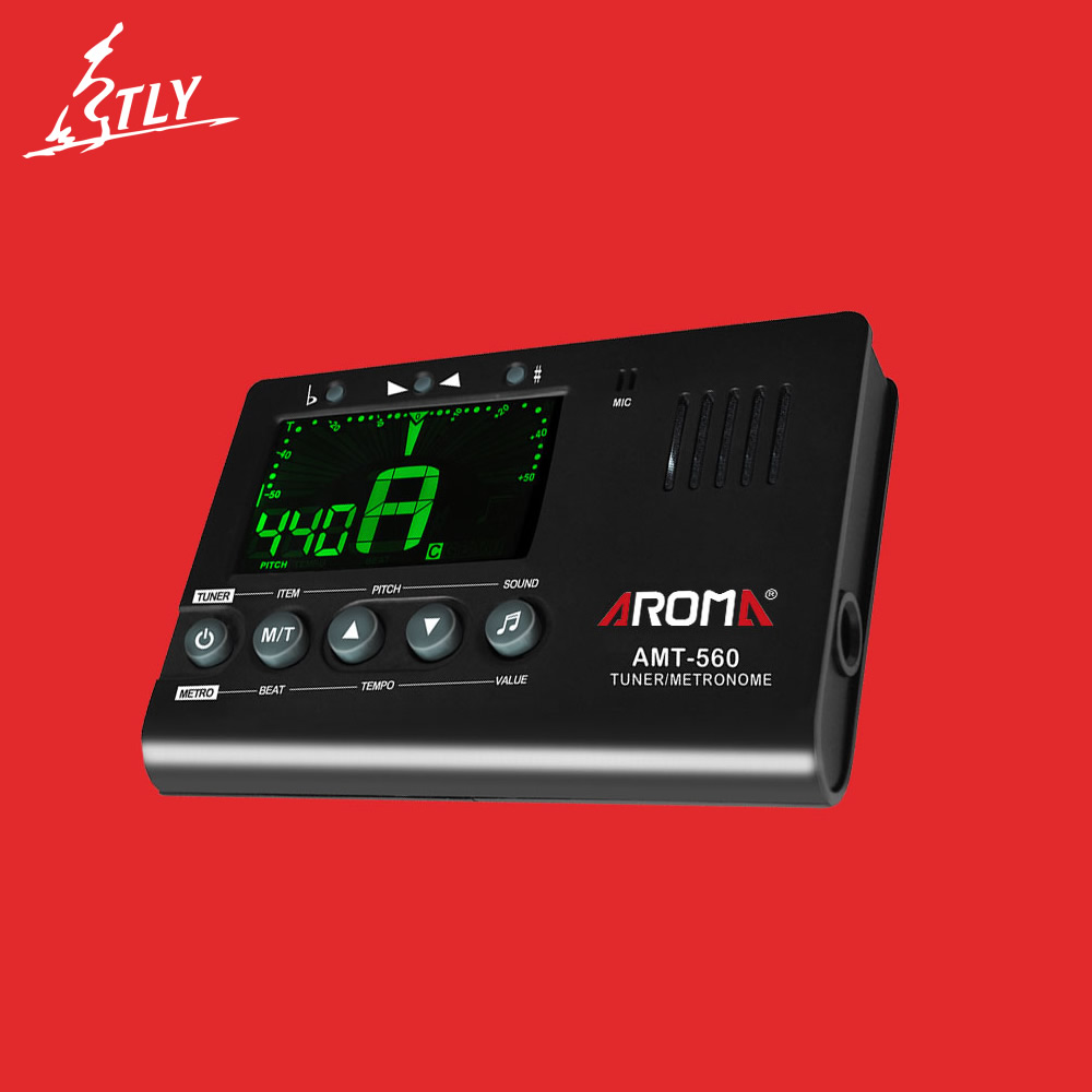 AROMA AMT-560 Guitar Tuner Built-in Mic Electric Tuner Metronome with Pickup Function for Guitar Chromatic Bass Violin Ukulele