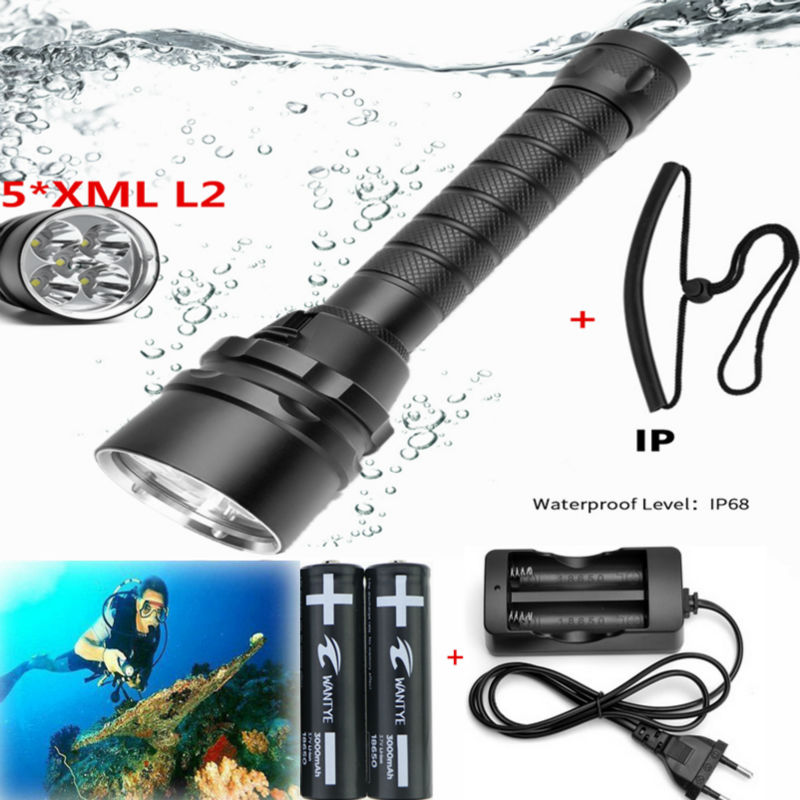 50W 10000Lm Underwater Dive Diving FlashLight 5 x XM-L2 LED diving Torch Waterproof Light Lamp +18650 battery /Charger underwater diving headlight l2 led headlamp cree xm l2 waterproof dive lanterna underwater flashlight 18650 battery charger