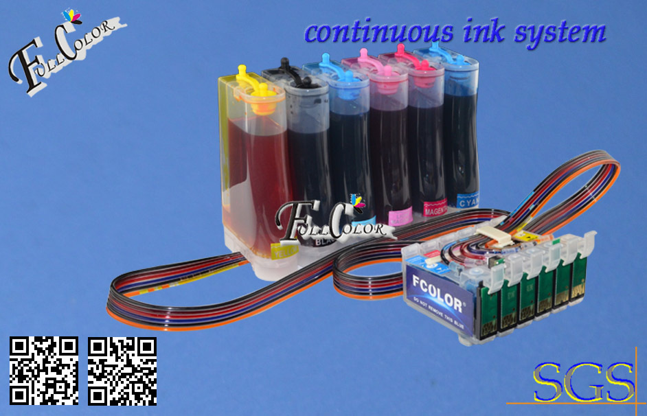 Continous Ink Supply System for Epson R270 / R290 / R390 / RX590 / 690 CISS with Reset Chip + 500ML Pigment Ink / Color high quality original renew cartridge chip detection board for epson r290 r270 r390 t60 me1100 t50 chip contact plate