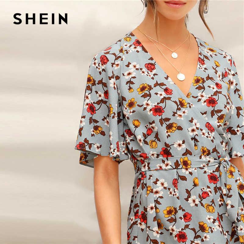 acacf882fa ... SHEIN Blue Ruffle Hem Surplice Wrap Floral Belted Summer Short Boho  Dress Women V-Neck
