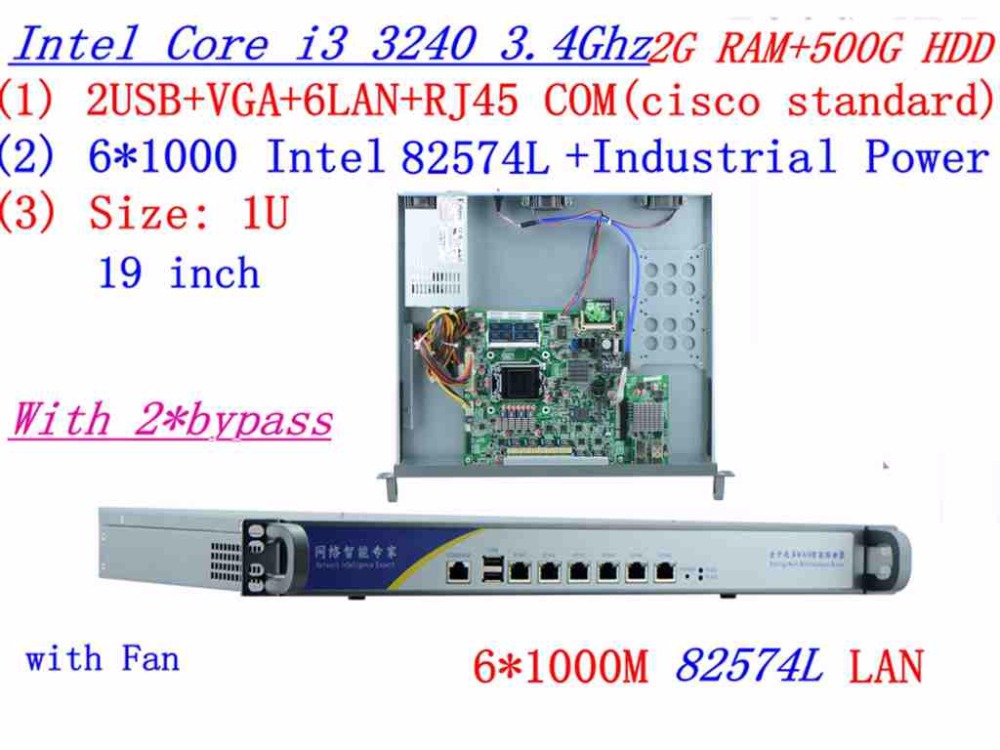 Support ROS RouterOS Mikrotik 1U Firewall Server Router With 6*inte 1000M 82574L  Intel I3 3240 3.4Ghz 2G RAM 500G HDD 2*bypass