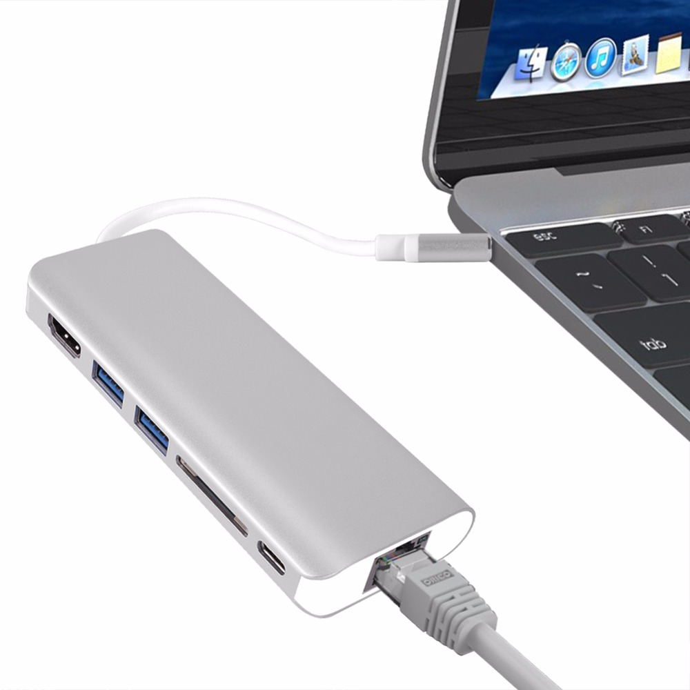 Type-C HUB USB-C to HDMI 4K With 2-Port USB3.0 Power Delivery Gigabit Ethernet Adapter SD Card Reader For MacBook Pro Chromebook type c hub usb c to hdmi 4k with 2 port usb3 0 power delivery gigabit ethernet adapter sd card reader for macbook pro chromebook