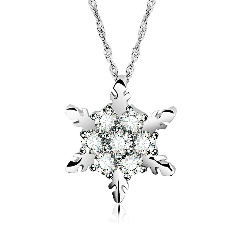 10 pieceslot Crystal Snowflake Pendant Necklace Silver Color Rhinestone Flower Charm Link Chain Necklaces Jewelry For Women