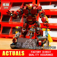 Lepin 07101 1527Pcs Super Genuine Hero Compatible With 76105 Iron Man Anti Hulk Mech Toy Building