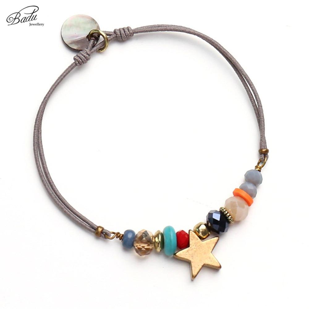Badu Women საუკეთესო მეგობარი სამაჯური ოქროს ვარსკვლავი სიმებიანი სამაჯურები იღბლიანი ხიბლი ელასტიური თოკი საზაფხულო გატარება გულსაკიდი მოდური სამკაულები საჩუქარი
