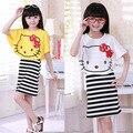 Девушки комплектов одежды привет котенок футболка + полосатый платье детской одежды девочки-подростки мода костюмы возраст 3 - 14