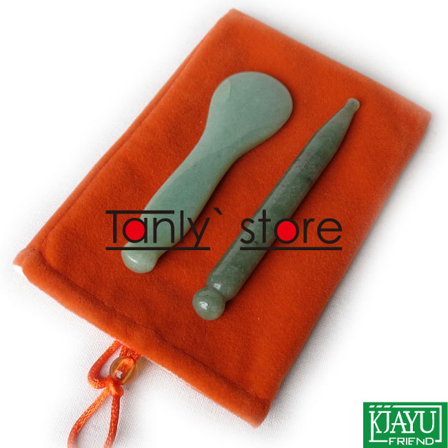 Gift chart & bag Traditional Acupuncture Massage Tool Guasha Beauty board Natural Stone 2pcs/set (needle+spoon shape) gift chart
