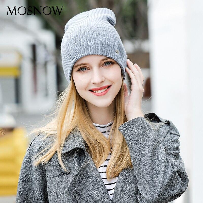 f28ba95cd73 MOSNOW Hat Female Cotton Solid Brand New Fashion 2018 Winter High Quality  Knitted Warm Women s Hats Cap Skullies Bonnet  MZ832D