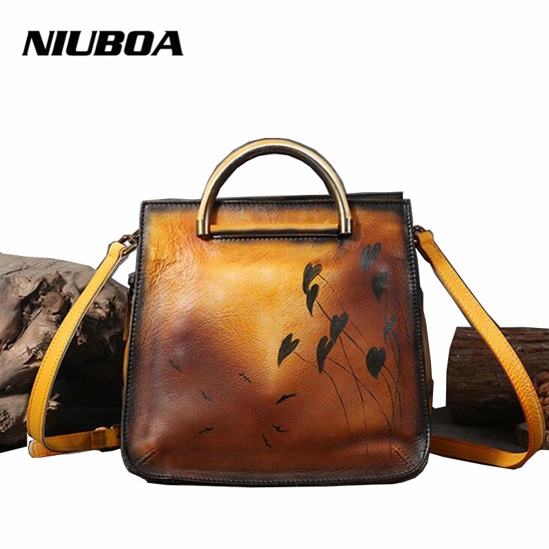 NIUBOA Fashion Skin Leather Shoulder Bags Handbag Crossbody Vintage Women Cowhide Messenger Bag New Personality Printing Handbag