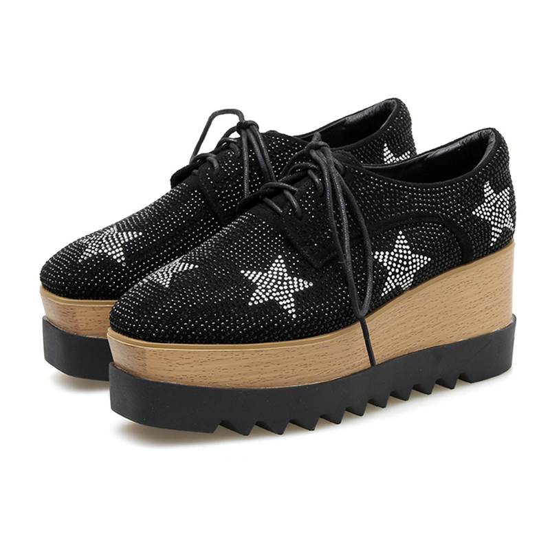 Black Platform Wedges Shoes Fashion Rhinestone Women Shoes High Heel Casual Women Creepers Ladies Lace Up Platform Heels(China)