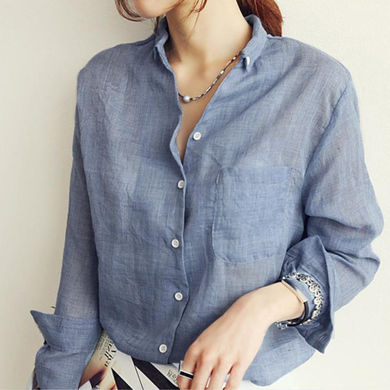 Hot Sale Autumn Linen White Shirt Chemisier Femme Womens Tops Women Long Sleeve Blouse Korean Woman Clothes Roupas Femininas