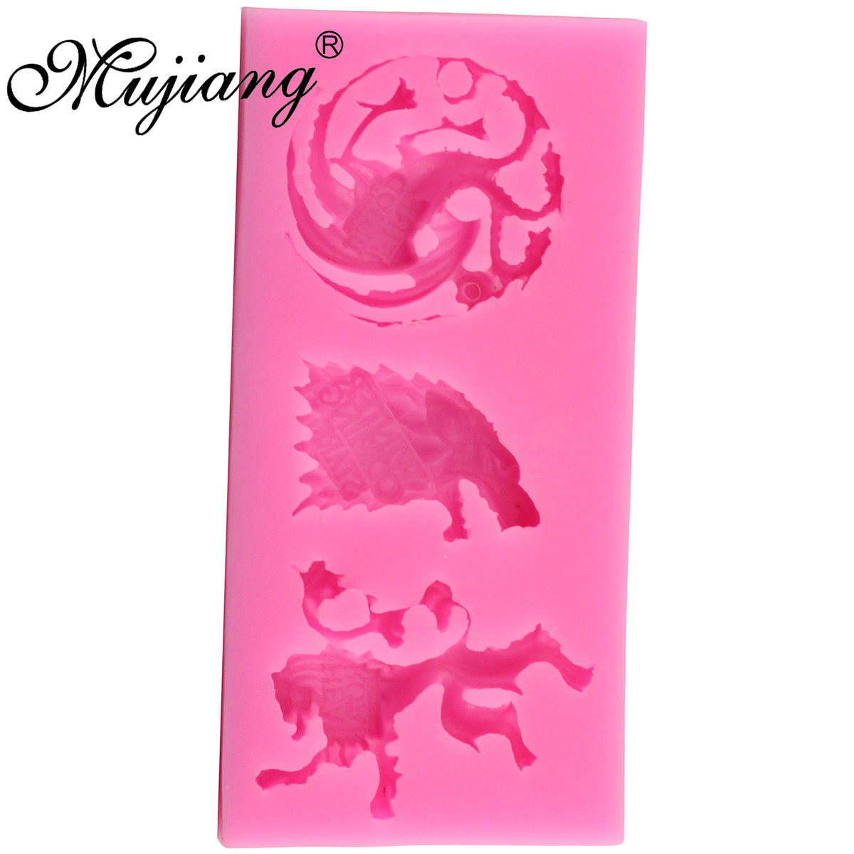 Mujiang Game of Thrones Family Badges Cake Silicone Molds Fondant Cake Decorating Tools Wolf Lion Candy Chocolate Fimo Clay Mold in Clay Extruders from Home Garden