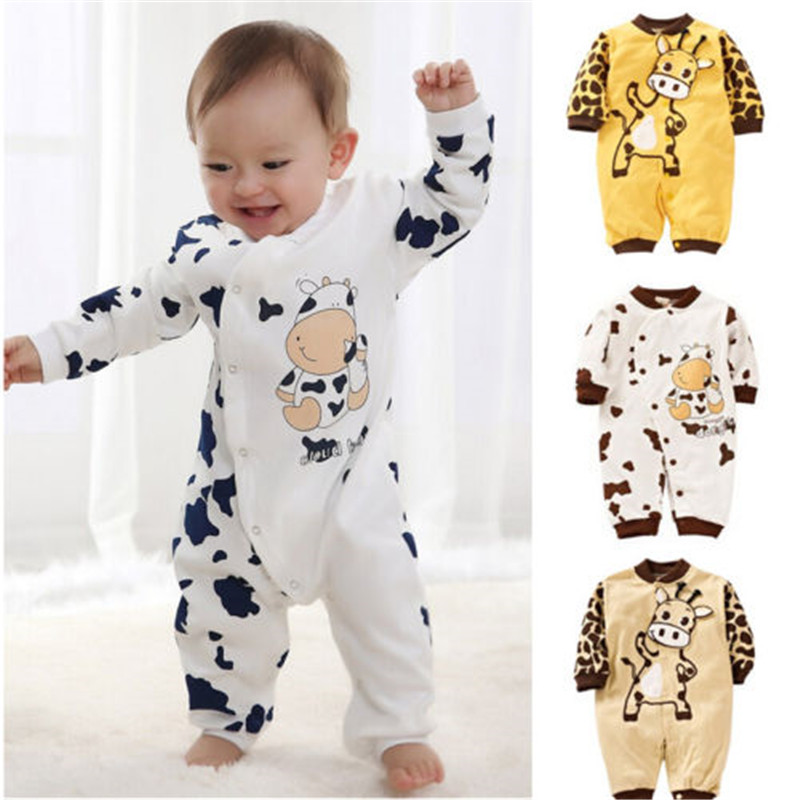 Cute Baby Boy Girls Cartoon Cow   Rompers   Long Sleeve Cotton Jumpsuit Clothes For Newborn Girls Boys Lovely Children Clothing
