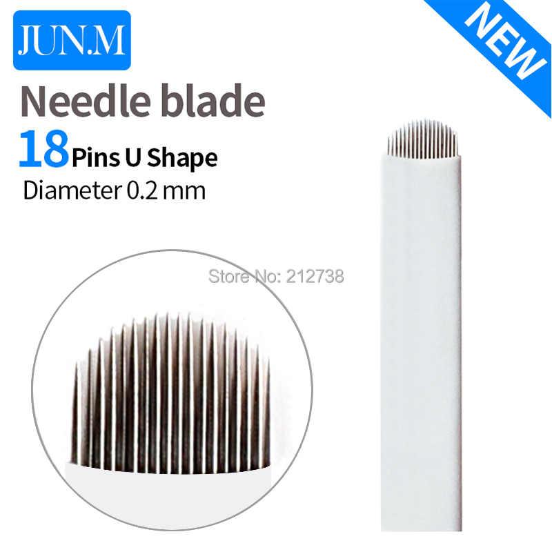100 PCS U - Shape 18 pin Microblading เข็ม Eyebrow Tattoo Blade สำหรับแต่งหน้าถาวร Pen 3D เย็บปักถักร้อยคิ้ว