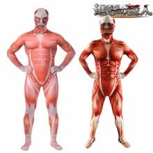 Ataque en Titán disfraces Cosplay hombres Titans músculo Muscular traje  Bertolt Hoover Lycra Flesh Zentai Halloween costo S-3XL 1153458a9a6d